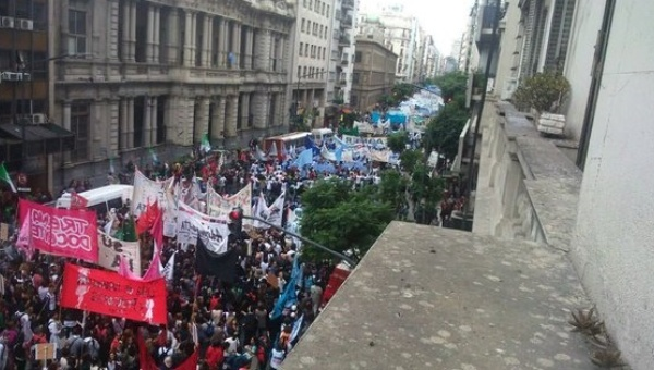 Teachers from public and private schools in Argentina held a national  strike on April 4, their first since Mauricio Macri became president in  December, ...